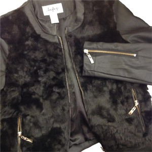 Daytrip Faux Fur Faux Leather Gold Edgy Pieced Black Jacket