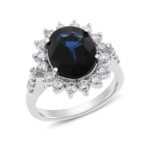 Other 4.81 Ct. Natural Diamond & Oval Sapphire Diana Inspired Halo Ring In