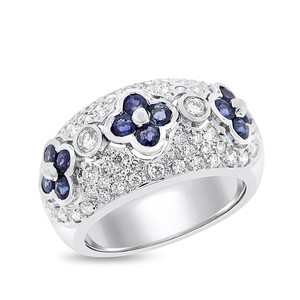 Other 1.83 Ct. Natural Diamond & Sapphire Flower Domed Cocktail Ring 18k