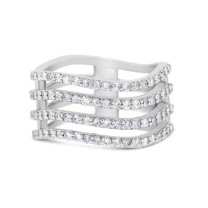 0.85 Ct Natural Diamond Wave Wavy Four Row Cocktail Fashion Ring 14k
