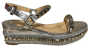 Christian Louboutin Cataclou Studded Wedge silver Wedges