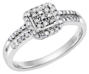 0.20 Ct. Natural Diamond Square Halo Promise Ring In Solid 10k White