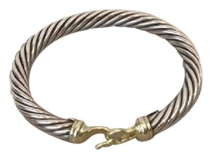 David Yurman DAVID YURMAN Sterling Silver & 18k Gold 7mm Buckle Bracelet!