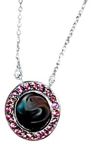 Red Envelope PINK TOURLMAINE STERLING SILVER ENGRAVABLE DISK NECKLACE W CHAIN