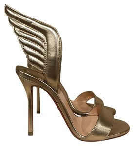 Christian Louboutin Samotresse Stiletto Wing Leather Open Toe gold Pumps