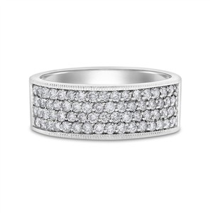 1.00 Ct. Natural Diamonds Wide Anniversary Band 8.5mm Solid 14k White