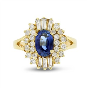 Other 2.25 Ct. Natural Diamond & Sapphire Cocktail Fasion Ring Solid 14k