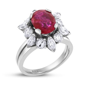Other 5.5 Ct. Natural Diamond & Ruby Flower Vintage Cocktail Ring In Solid