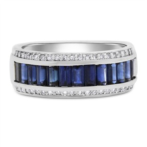 3.75 Ct. Natural Sapphire & Diamond Fancy Band Ring In Solid 14k White