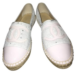Chanel Tweed Black Espadrilles White Flats