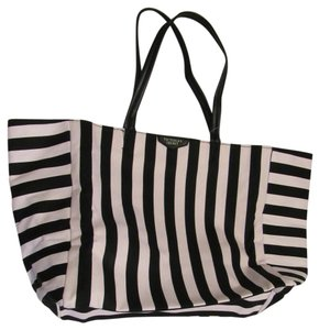 Victoria's Secret Weekender Tote Travel Tote Makeup Pouch Tote pink black stripe Travel Bag