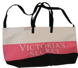 Victoria's Secret Beach Beach Xl Tote in pink black stripe