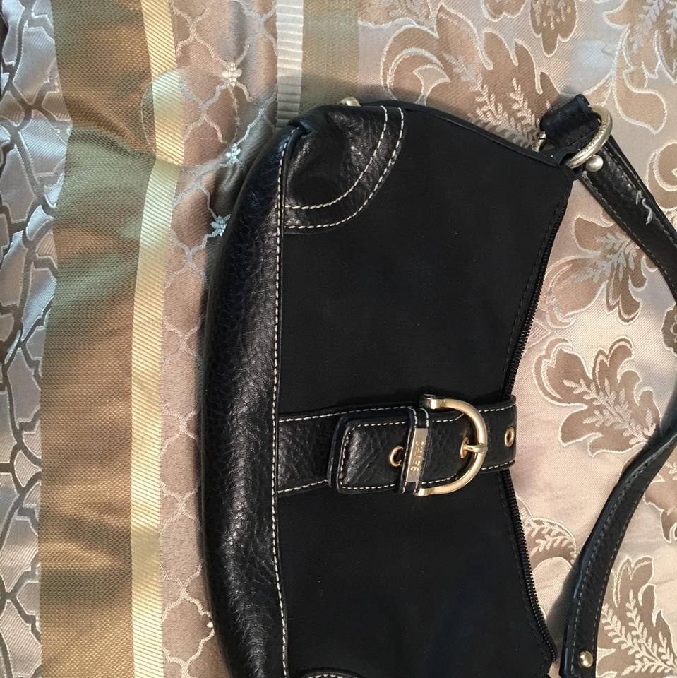 bd1e34486970 Ralph Lauren Chaps Small Purse Black Fabric and Pebbled Leather ...
