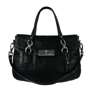 Coach Leather Kristin Silver Hardware Flap Large Satchel in Black