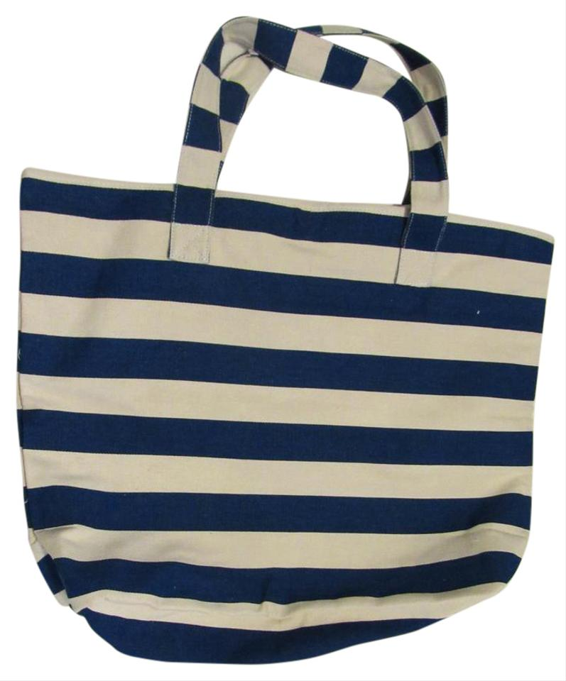 Macy S Tote Blue Natural Stripe Beach Bag