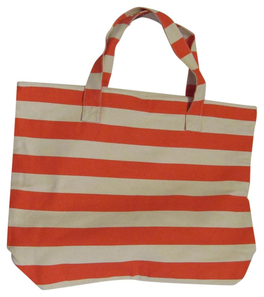 Macy's Xl Beach Tote / W/ Snap Closure Orange Natural Stripe Beach ...