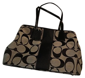 Coach Satchel in Signature Black and Grey