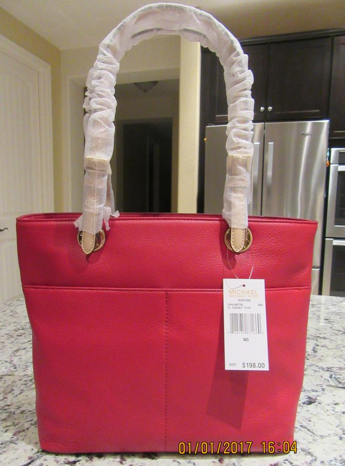 9d110653be7a MICHAEL Michael Kors Bedford Pocket Red Leather Tote - Tradesy