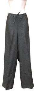 Ellen Tracy Linen Metallic Drawstring Wide Leg Pants Black/Silver