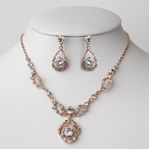 Elegance By Carbonneau Rose Gold Rhinestone Necklace And Earrings Jewelry Set