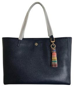 Tory Burch Leather Large New Tote in Black