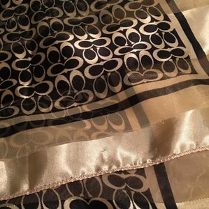 Coach Gold Metallic and Black Signature Large Scarf