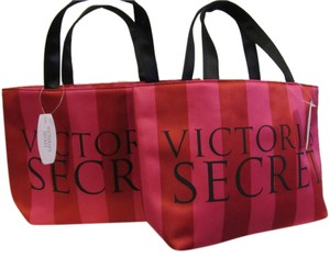 Victoria's Secret Cosmetic Mini Logo Travel Tote in pink and red stripe