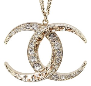 Chanel Chanel 15C Dubai Moon Classic Gold CC Crystal Necklace Pendant XL