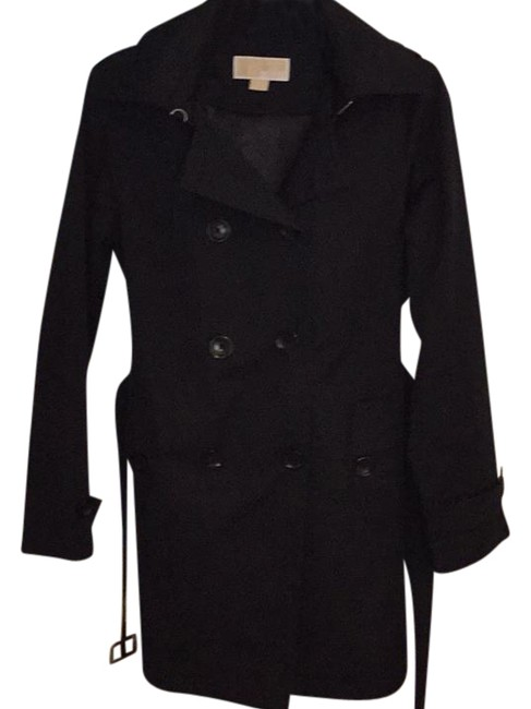 Item - Navy Belted Button Up Coat Size Petite 8 (M)