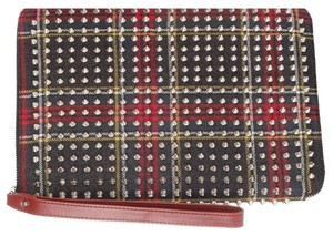 Christian Louboutin red and green Tartan Clutch