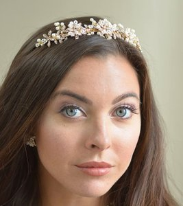 Ansonia Bridal Rose Gold Pearl And Rhinestone Wedding Tiara