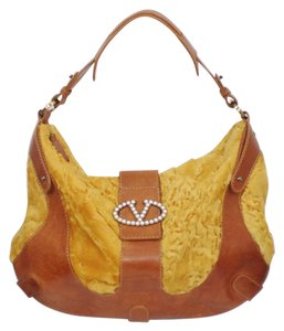 Valentino Leather Rare Fantasy Fur Large Hobo Bag