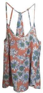 O'Neill Print Summer Top Peach Blue & White