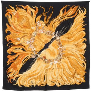 Hermès Flower Crown Motif Square Silk Scarf