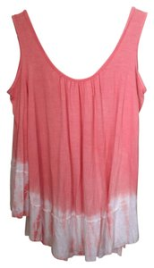 Freeloader Flowy Tie Dye Open 3/4 Sleeve Spring Top Peach & White