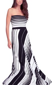Black, White Maxi Dress by bebe Strapless Striped