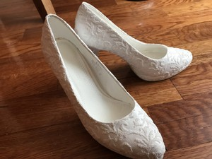 Pumps Platform White Beads Lace Wedding Shoes Wedding Shoes