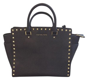 Michael Kors Saffiano Leather Studded Satchel in Chocolate Brown + Gold