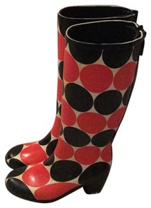 Kate Spade red and black polka dots on white Boots