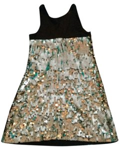 Express Sparkle Sequined Gold Dress