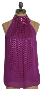 Jaloux Date Night Embellished High Neck Night Out Evening Top PURPLE