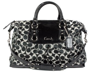 Coach Leather Patent Leather Satchel in Black/Tan/Khaki