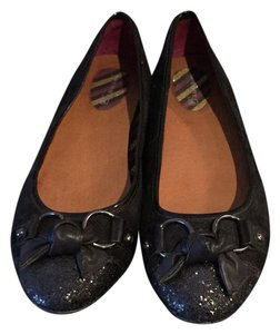 Sperry black suede with leather bow and sparkle toe Flats