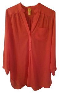 Francesca's Tunic V-neck Bright Top Fuscia