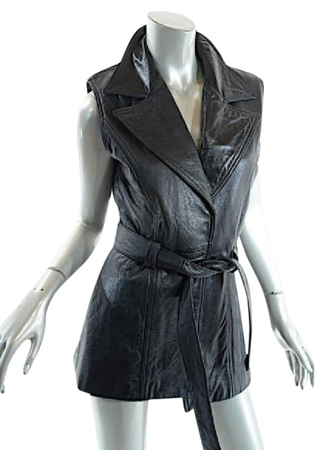 Preload https://img-static.tradesy.com/item/20467223/black-leather-belted-jacket-vest-size-12-l-0-1-650-650.jpg