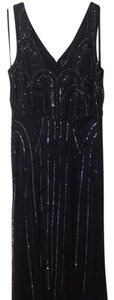 Adrianna Papell Navy Blouson Gown With Art Nouveau Beading Dress