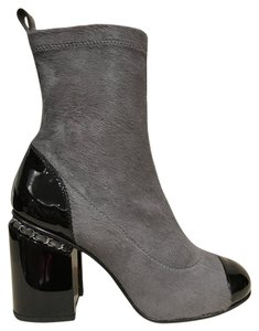 Chanel Fur Stiletto Patent Chain grey Boots