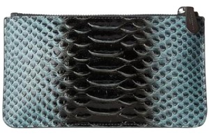 Liebeskind Pochette Make Up Leather Pouch Embossed Leather Edgy Black, Blue Clutch