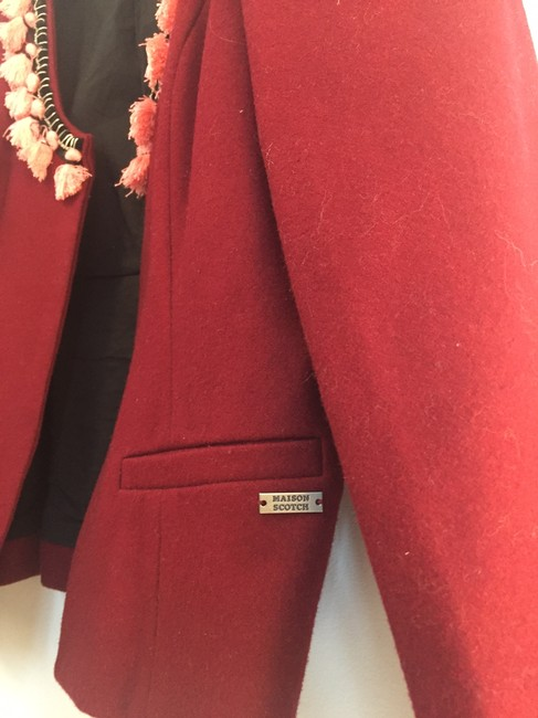 Maison Scotch Pom Pom Trim Wool burgundy Blazer Image 4