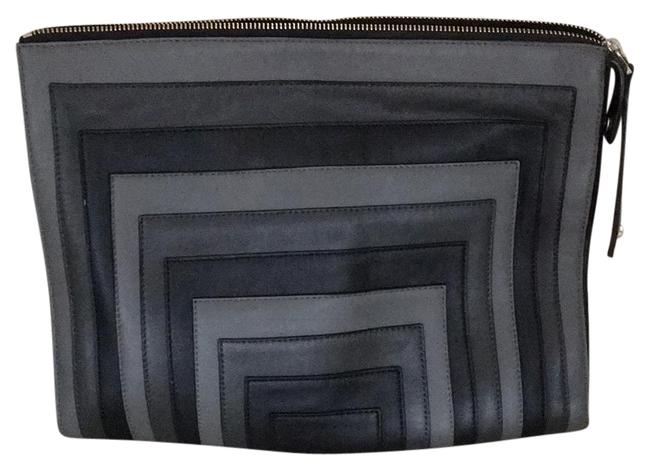 Item - Large Black and Grey Genuine Leather Clutch